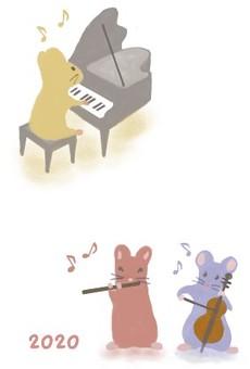 楽器を演奏するねずみ・2020年賀状