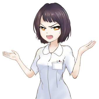 Serious nurse with open arms