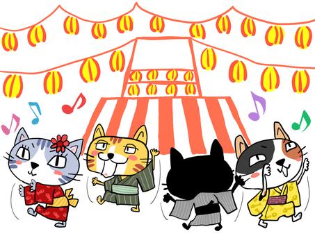 夏祭りで盆踊りする4匹の猫