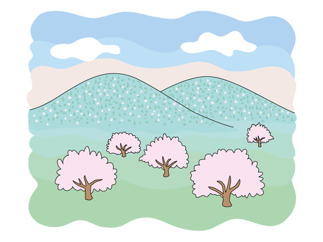 A landscape with mountains and cherry blossoms