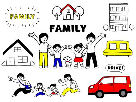 家族のイラストセット(シンプル)