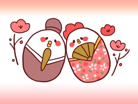 【Hinamatsuri】 Illustration of a bird 【loose character】