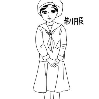 Coloring girl in uniform