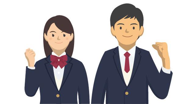 Student _ Uniforms of men and women -2 - 5 _ Half - body