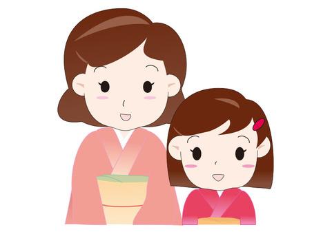 和服的母親和女兒上身