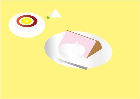 Chiffon cake and tea