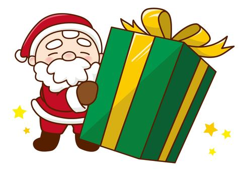 Santa with a present