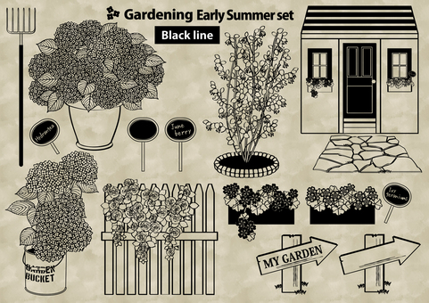 Gardening set early summer line drawing