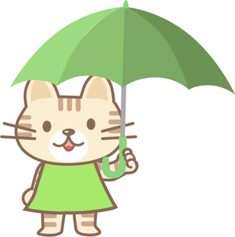 Cat catching an umbrella