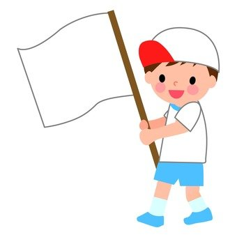 A boy with white flag