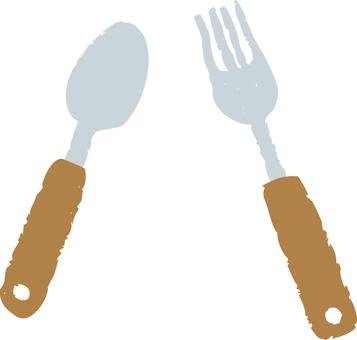 勺子和叉子(棕色)