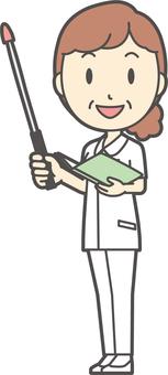 Middle-aged women nurse white coat-226-whole body
