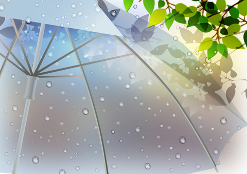 Rain scenery illustration 02 Fresh green and vinyl umbrella