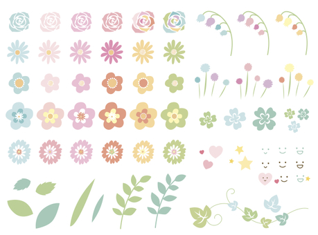 Pastel flower set