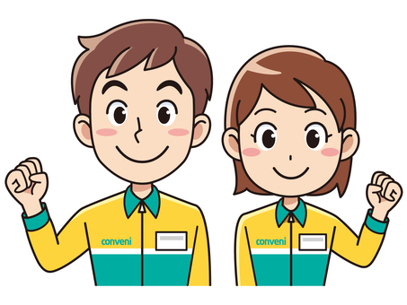 Men and women wearing uniforms at convenience stores