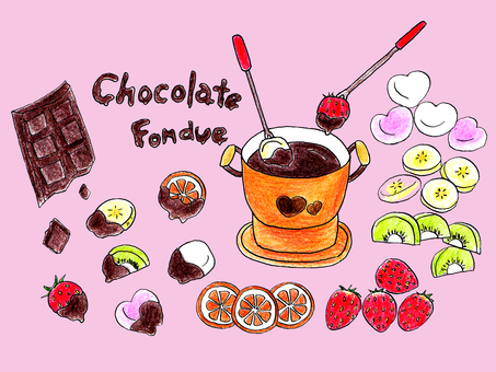 Chocolate fondue (colored pencil painting)