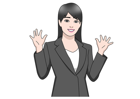 Suit woman surprised raising hands smile