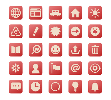 Square Icon Set 2-Red