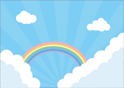 Summer blue sky and rainbow background