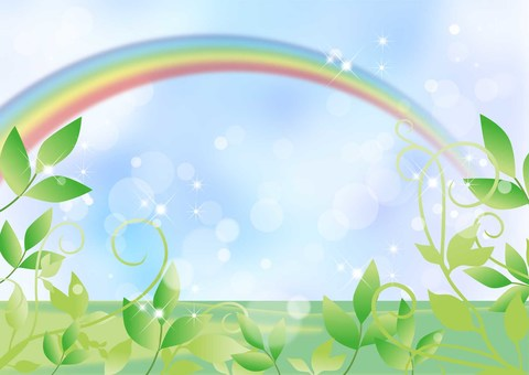 New green, sky and rainbow _ Landscape