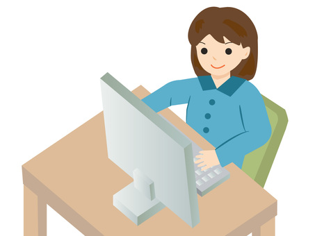 A woman working on a computer