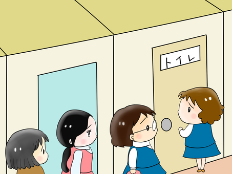 Women lining the bathroom