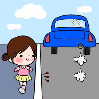 Traffic Safety Road Side Girls to note white lines
