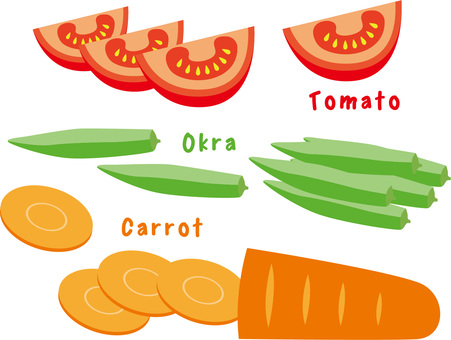 Carrot Sliced ​​Okra Tomato Comb cutting