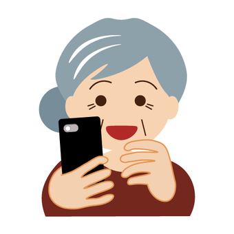 Grandma operating a smartphone