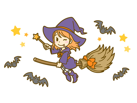 Halloween_Witch and Bat 01