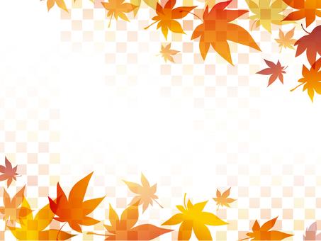 Autumn leaves checkered frame
