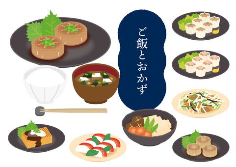 Various sets of side dishes