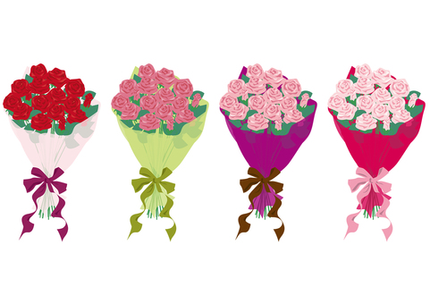 Roses bouquet red set