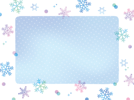 雪の日のフレーム水彩