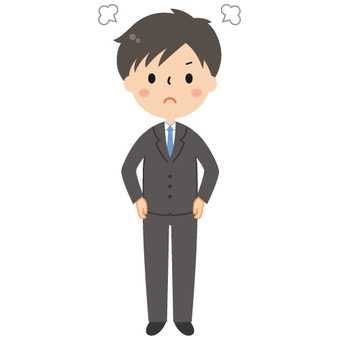 Cute suit Men's angry illustration