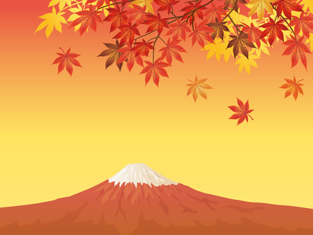 Mt. Fuji of autumn leaves maple and sunset Background 02