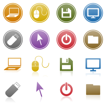 Icons for PC, mouse, monitor, etc.