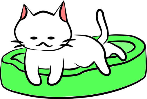 Nyanko-san in a cat bed