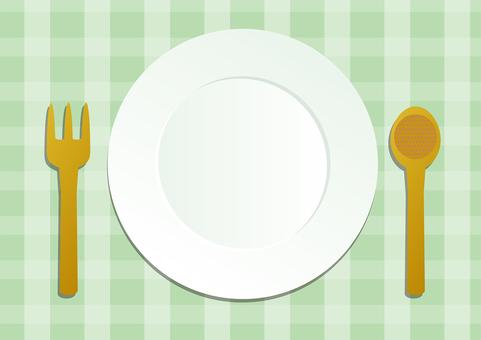 접시와 숟가락과 포크