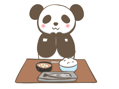 Panda joining hands at a meal