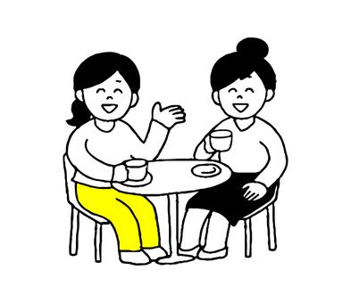 カフェで会話する女性2人(シンプル)