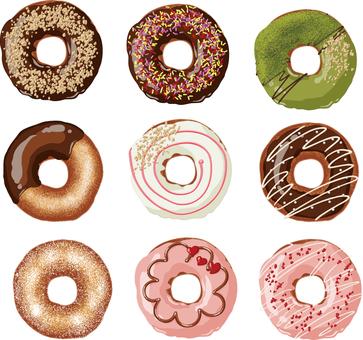 Donut 9 pieces set background transparent ant