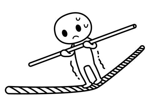 Stick man - tightrope walking