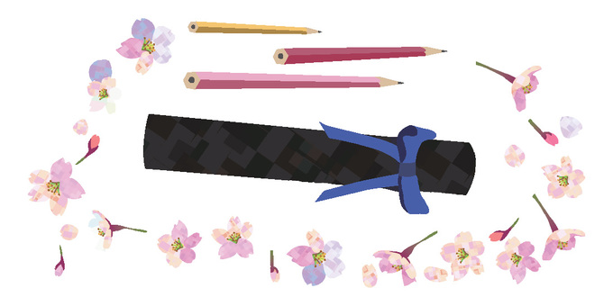 Diploma, pencil and cherry blossoms
