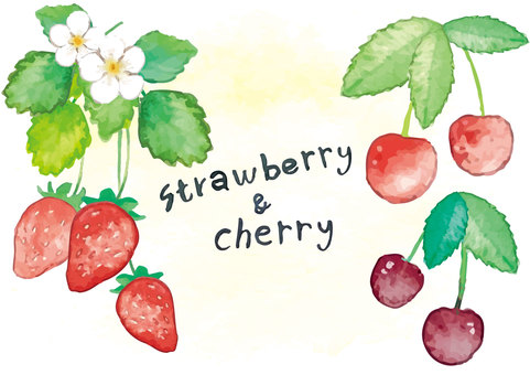 《Watercolor style》 Strawberry and cherry
