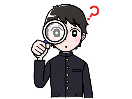 School run boy student magnifying glass examining question