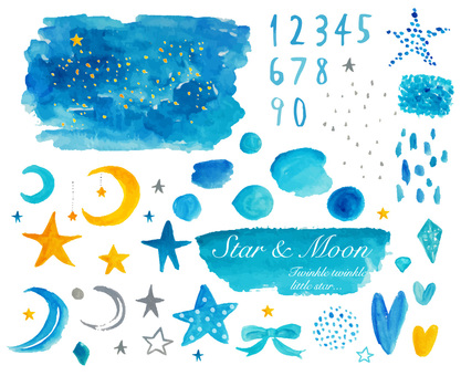 Stars and the moon Watercolor material set of the night sky