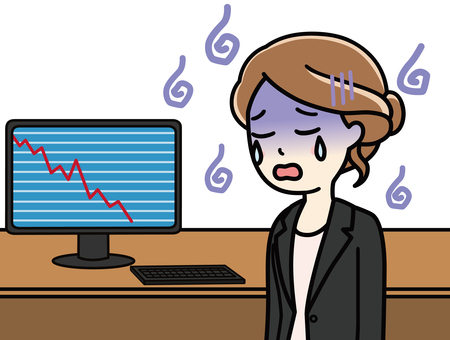 Woman looking down chart on personal computer