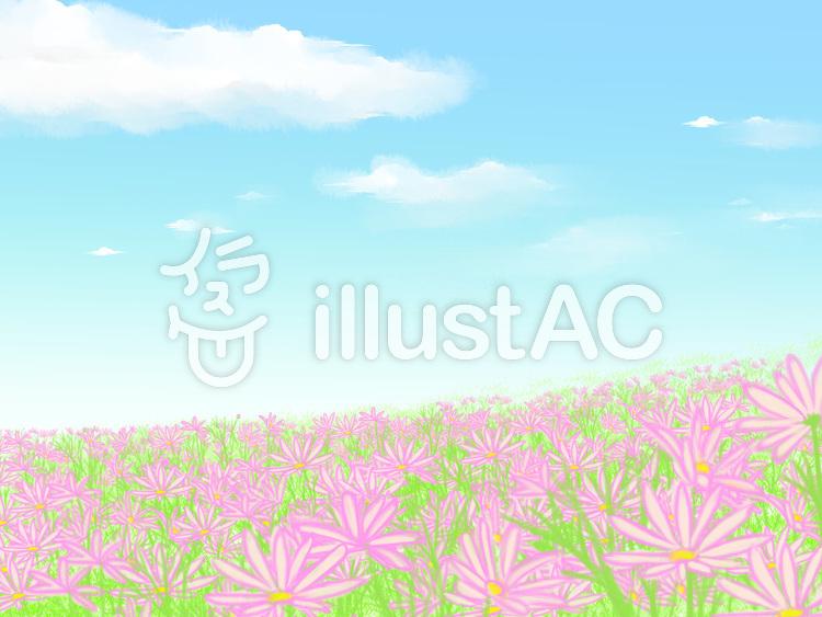 ピンクの花畑のイラスト