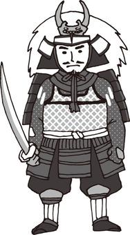 Military commander (Shin Gen Takeda · monochrome)